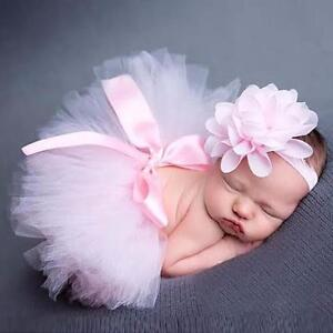 Newborn Headdress Headband Flower Tutu Skirt Baby Girls Photo Photography Props