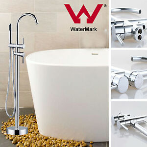 Bath-tub-Free-Standing-Round-Shower-Spout-Faucet-amp-Hand-Held-Mixer-Tap-Tall-Rise
