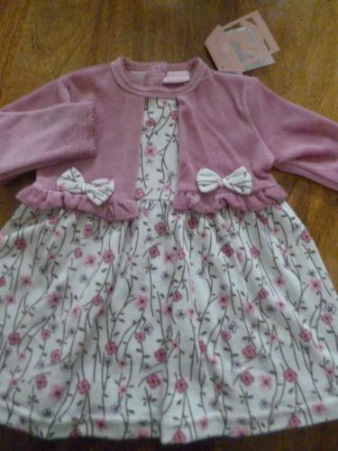6//9 3//6 Gratis P/&P Rosa Floral Vestido Con Imitación Terciopelo Bolero 0//3 9//12 meses