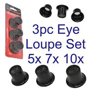 Neilsen-3pc-Eye-Loupe-Set-5x-7x-10x-Magnification-Jewellry-Making-Crafts-CT4287