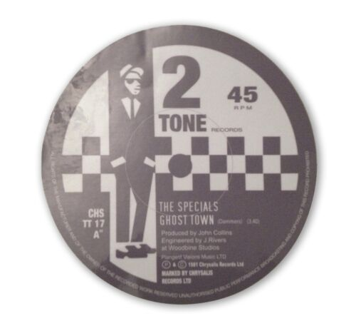 Ghost Town Vinyl Record Sticker 2 Tone Ska Rude Boy Decal CD8 The Specials