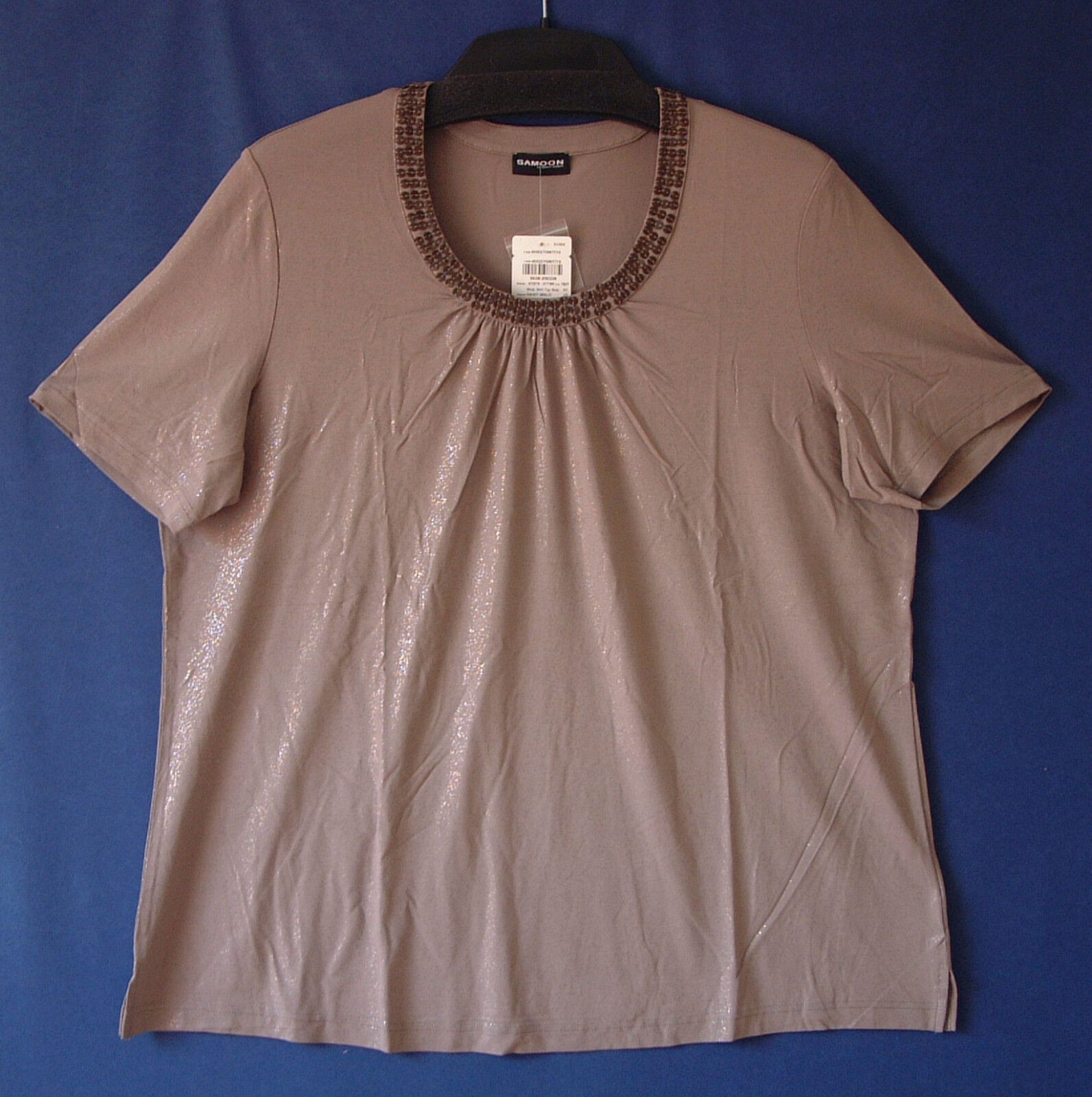 Samoon Shirt Gerry Weber Gr.48 graubraun Viskose-Stretch Damenshirt Samoon48 Neu