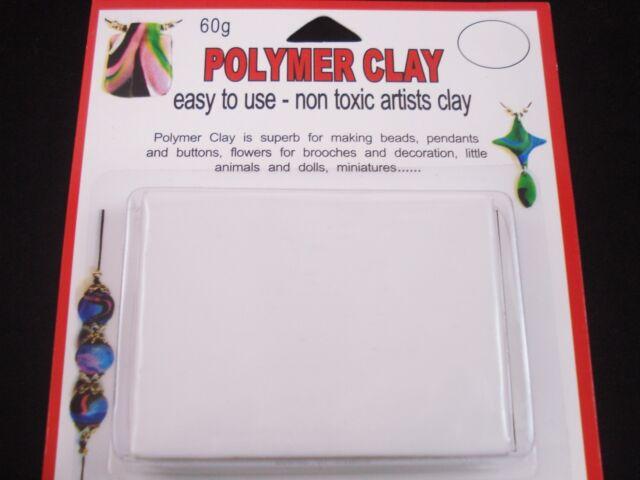 Modelling Polymer Clay Art/Craft Oven Bake 60g White Art Design FREE POSTAGE