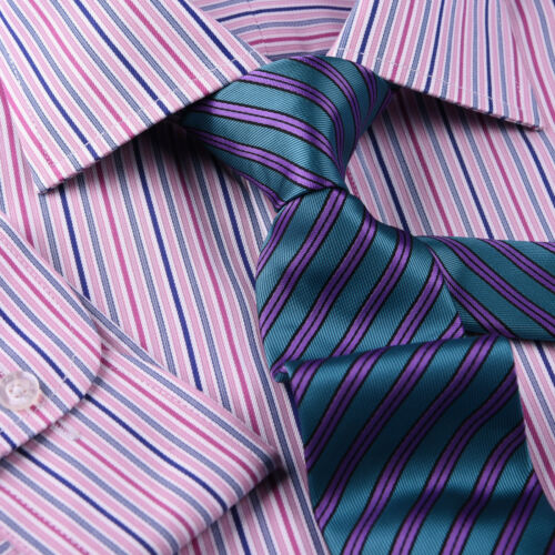 Pink Blue Soft Stripe Formal Business Dress Shirt Designer Stylish Fashion Style