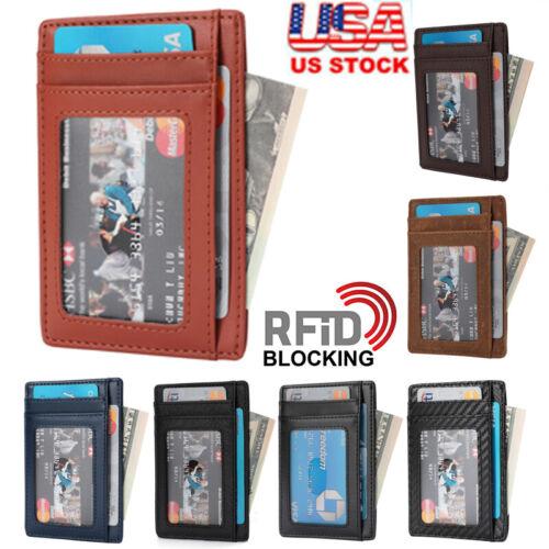Details about  /Mens RFID Blocking Leather Slim Wallet Money Clip Credit Card Slots Coin Holder