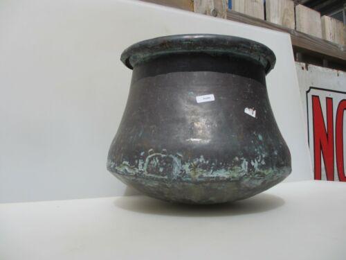 """Antique Copper Cauldron Arabic Pot Tub Planter Trough Asian Bucket Etched 13/""""W"""