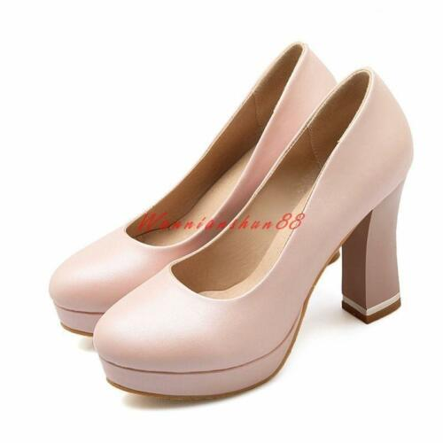 Womens faux Leather Platforms chunky High Heels Formal Slip-on court Shoes new