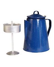 Mil-Tec Kaffeekanne Emaille mit 8 Tassen Blau Teekanne Campinggeschirr Geschirr