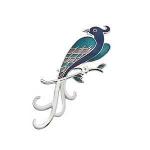 Blue-Bird-of-Paradise-Butterfly-Brooch-Silver-Plated-Brand-New-Gift-Packaging