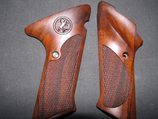 Colt Woodsman EARLY 2nd Series Fine English Walnut Checkered Pistol Grips  w/Logo