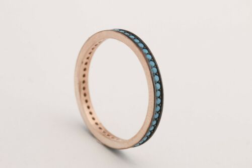 Turkish Jewelry Round Turquoise 925 Sterling Silver Rose Gold Band Ring Size