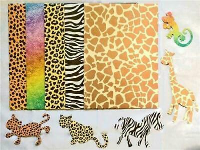 A4 Animal Print CARD 12 Sheets /& 5 Animal Shapes  Kids Party Craft School Home