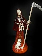 "Santa Muerte roja 8"" Grim Reaper Holy Death red Skull Skeleton red statue love"