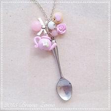 Collana Tea Time ~ Cute Necklace Fimo Polymer Clay Kawaii Pastel Color Fimo Pink