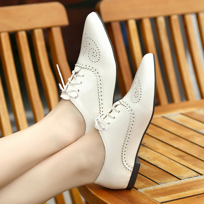 Womens Brogues Flat Casual Pointed Toe Oxfords Lave Up Loafers Patent Leather Sz