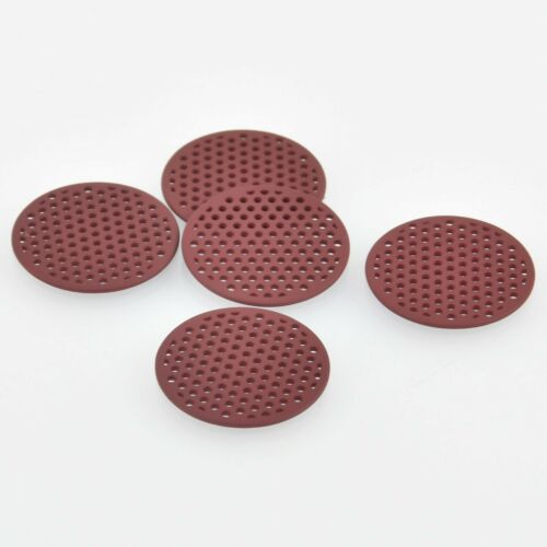 10 MAROON RED Flat Round Charms chs5872 Perforated Filigree Findings 25mm