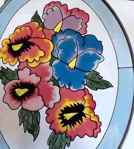 Vintage oval floral suncatcher pretty colorful flowers light blue image is loading vintage oval floral suncatcher pretty colorful flowers light mightylinksfo