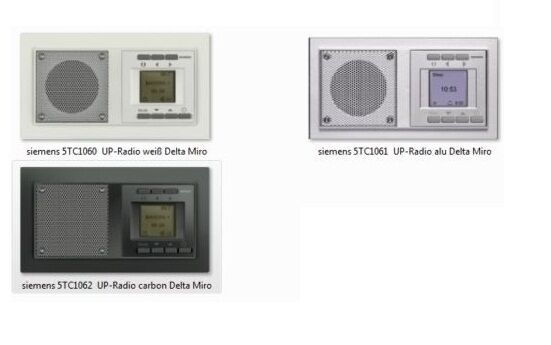 Siemens UP-Radio Delta Miro 5TC1060 5TC1061 5TC1062 Badradio Unterputz Radio