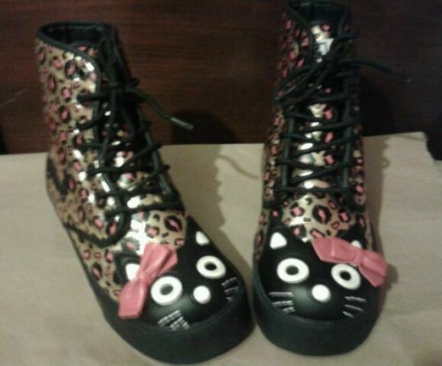 TUK TUK TUK Womens gold Kiss Leopard Print Kitty Bow Sneaker Combat Boot shoes Sz 7 32e12f