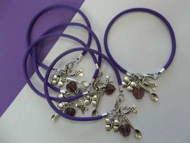 5 Lupus And Fibromyalgia Awareness Bracelets W Spoon Erfly Hope Charms