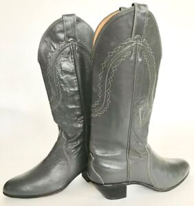 Justin-Gray-Leather-Tall-Western-Boots-Women-039-s-7-Style-4436-minimal-use