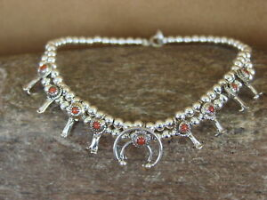 Native-American-Jewelry-Sterling-Silver-Coral-Squash-Blossom-Bracelet