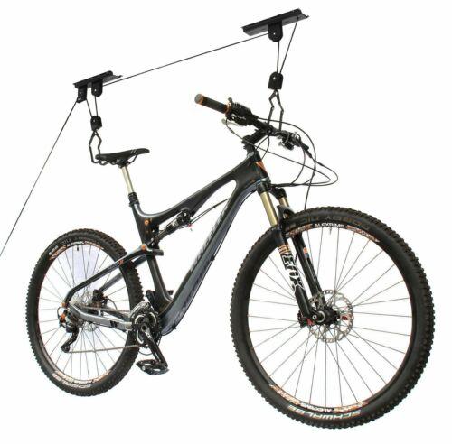 Bicycle Lift Bike Ceiling Mount Pulley Hoist Rack Garage Storage Hooks Hanger US