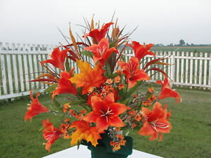 Fall Thanksgiving Cemetery Flowers Orange Lily Summer Grave Urn Cone Centerpiece