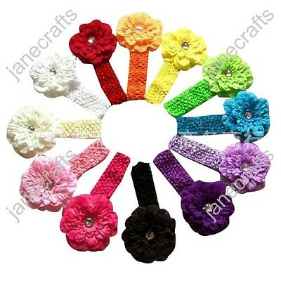 12pcs Baby Toddler Girls Crochet Headband Hair Band Bow Clips with Peony Flower