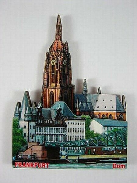 Frankfurt Cathedral, 3D Large Wooden Magnet, Souvenir Germany Germany