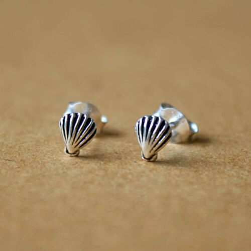 925 Sterling Silver Sea Shell Boucles d/'oreille coquillage coquille Saint-Jacques coquilles nautique oreille