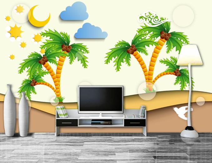 3D Coconut Tree 4 Wallpaper Murals Wall Print Wallpaper Mural AJ WALL AU Kyra