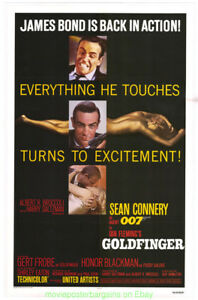 GOLDFINGER-MOVIE-POSTER-Linen-backed-Folded-27x41-Re-release-1980-SEAN-CONNERY