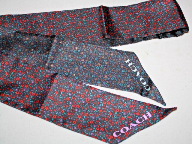 Coach Ponytail Scarf Silk Mini Fl Red Blue Nwt