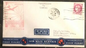 1939-Marseille-France-First-Flight-Airmail-Cover-FFC-to-USA-Via-Lisbon-Portugal
