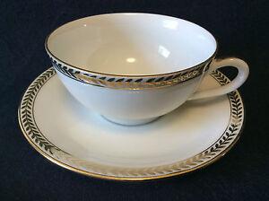 Cup-and-Saucer-Porcelain-Limoges-Stamp-L-P-N-Decor-Border-Gilding