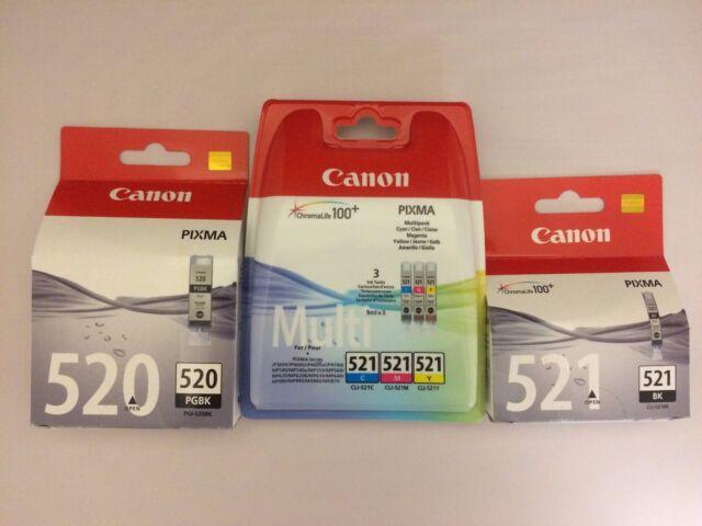5 x Canon Genuine Ink Cartridges PGI 520BK CLI-521BK CLI-521C CLI-521M CLI-521Y