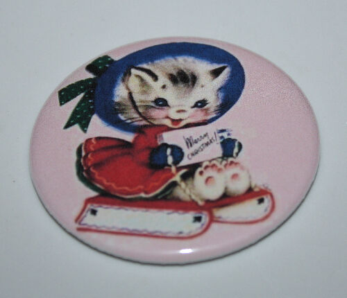 CAT PIN BUTTON Christmas Kitten Holiday Retro Art Pinback Halloween Black