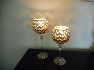 Set-of-2-Candle-Holders-For-Anniversary-Golden-50th-Anniversary-Gift-New