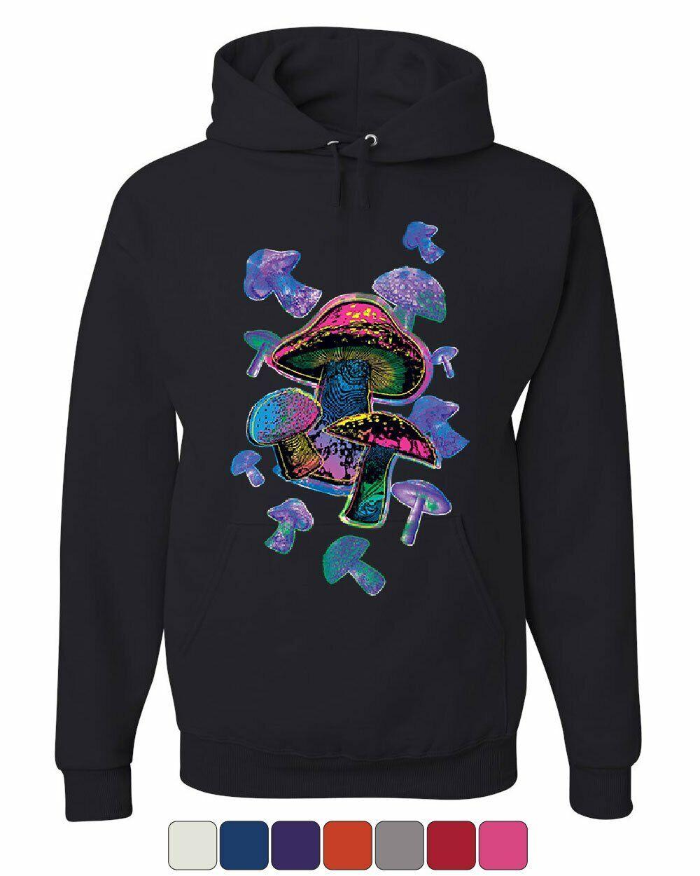 colorful Neon Mushrooms Hoodie Shrooms Psychedelic Psilocybin Sweatshirt
