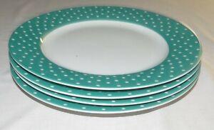 Isaac-Mizrahi-Ceramic-Teal-Green-Blue-Polka-Dot-FOUR-10-5-8-in-Dinner-Plates