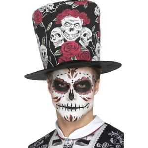 Day of the Dead Skull /& Roses Top Hat Halloween Voodoo Fancy Dress Adults Fabric