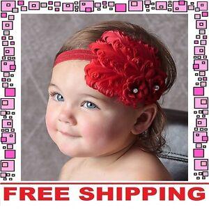 Red Flower Bow Headband Hairband Accessories Girls Baby Infant Toddler Children