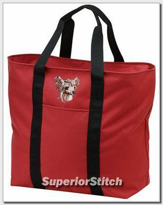 CHINESE CRESTED embroidered tote bag ANY COLOR
