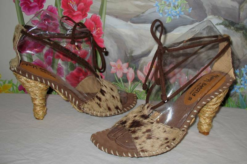 New PALOMA BARCELO Calf & Brown Suede Sandals 8   EU 38