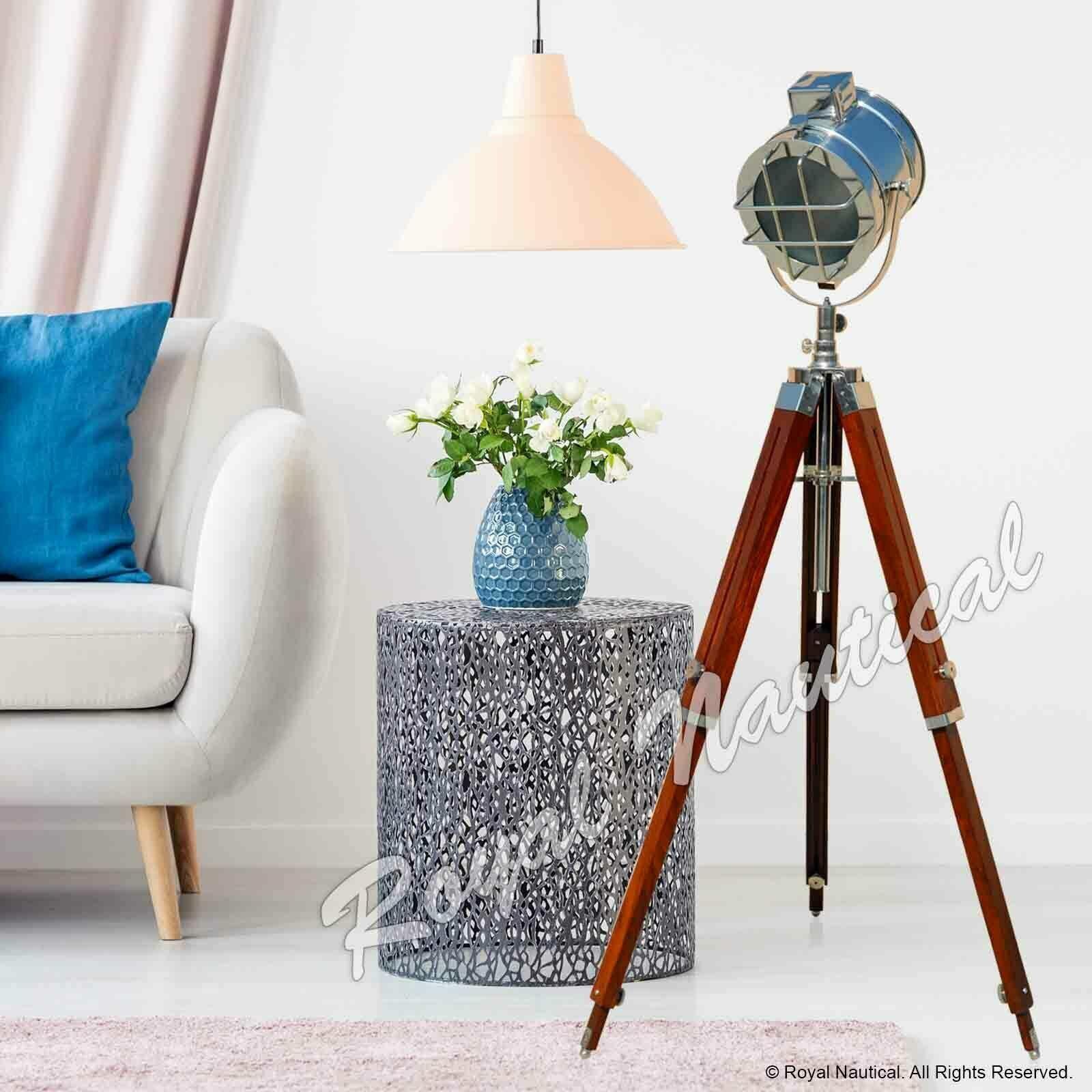 Stylish Vintage Marine Spot Light Standing Floor Lamp Chrome Finish Home & Decor