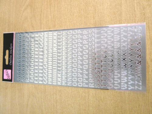 Piccolo Argento Lucido Adesivo Lettere Alfabeto Etichette Craft WD-3