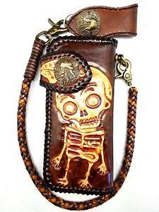 Biker-Chain-Wallet-motorcycle-trucker-Washington-Skull-tooled-engraved-Leather