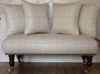 Long Footstool Stool & 4 Cushions Laura Ashley Orton Natural Fabric