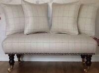 Long Footstool Stool & 4 Cushions Laura Ashley Orton Natural Fabric